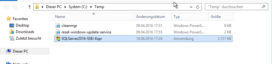 Windows Server Update Service unter SQL Server Express 2016 installieren